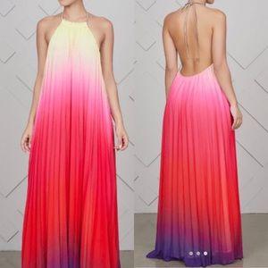 Ombré pleated maxi dress